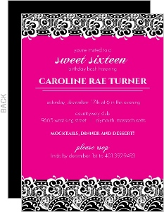Black Lace And Bright Pink Sweet 16 Birthday Invitation