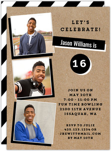 Black and White Kraft Birthday Party Invitation