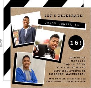 Black and White Kraft Birthday Party Invitation