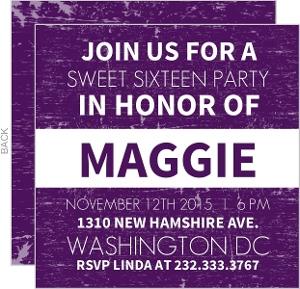 Purple News Flash 16Th Birthday Invitation