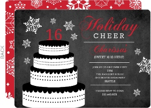 Black and Red Holiday 16th Birthday Invitations