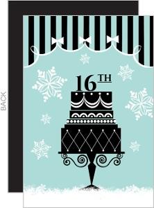 Holiday Cake Birthday Party Invite