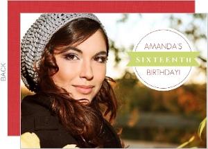 Circle And Banner Holiday Birthday Invitation