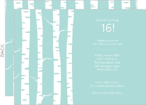 Light Blue Birch Trees Winter Birthday Party Invite