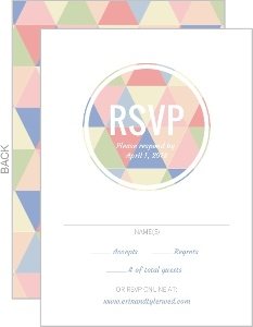 Modern Pastel Geometric Pattern Wedding Response Card