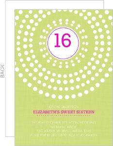 Bright Pink And Green Circle Burst Sweet Sixteen Invitation