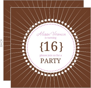Brown And Pink Circles Sweet Sixteen Birthday Invitation