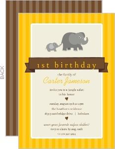 Yellow Baby Elephant Safari 1St Birthday Invitation