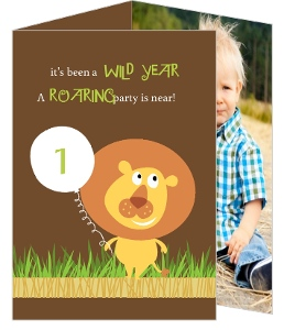 Brown Lion Jungle Safari 1St Birthday Invitation