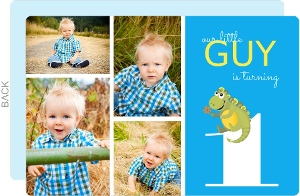 Blue and Green Dinosaur Boys First Birthday Invitation