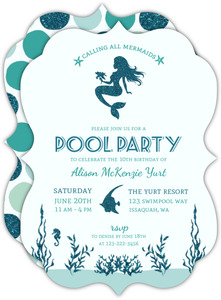 Faux Glitter Mermaid Birthday Party Invitation