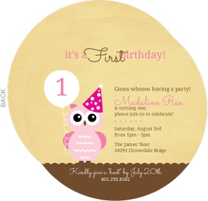 Rustic Pink Owl First Birthday Invitation