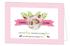 Pink Flower Bouquet Ladybug 1St Birthday Invitation