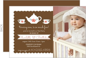 Floral Elegant Tea Party 1St Birthday Invitation