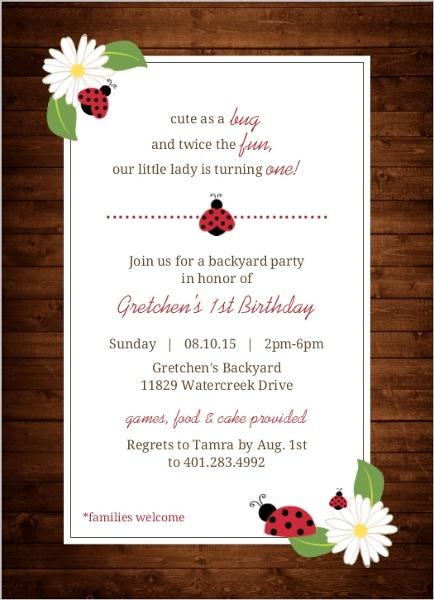 Rustic Woodgrain Ladybug Birthday Invitation – Ladybug Photo Invitations 1st Birthday