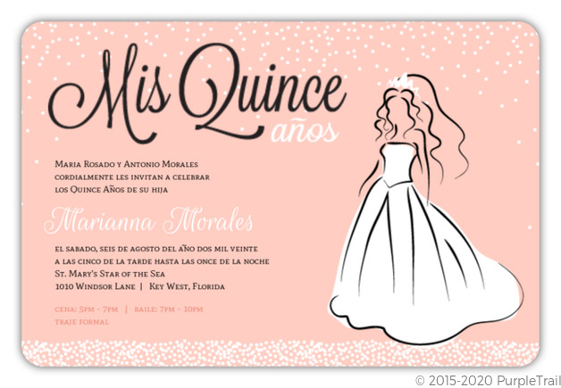 Peach White Princess Dress Quinceanera Invitation ...