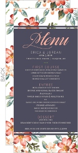 Delicate Watercolor Floral Wedding Menu Card