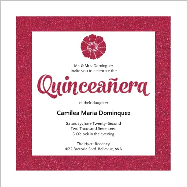Pink Glamour Quinceanera Invitation | Quinceanera Invitations