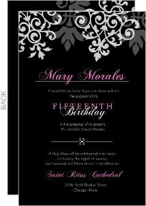 Black And Gray Flourish Quinceanera Invite