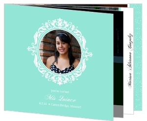 Turquoise Floral Frame Quinceanera Birthday Invitation