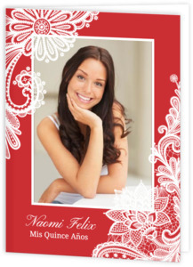 Red And White Lace Quinceanera Invitation