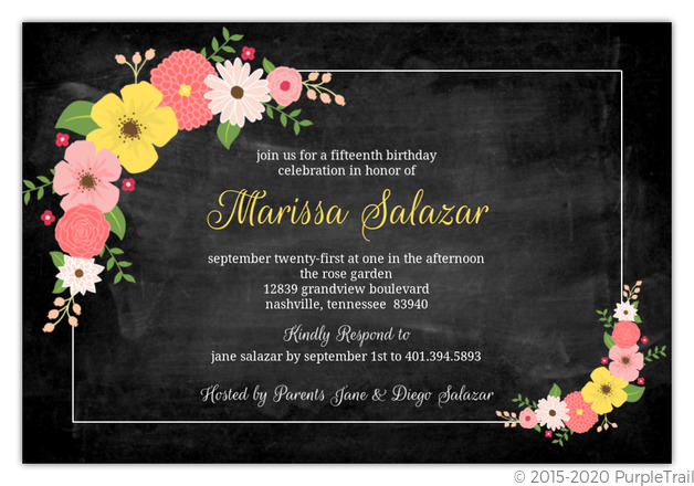 Floral Bouquet Chalkboard Quinceanera Invitation