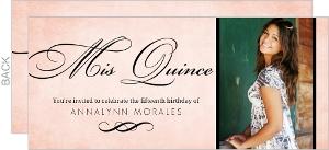 Rustic Pink And Black Elegant Quinceanera Invitation
