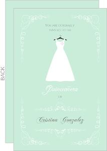 Mint Green Quinceanera Dress Invitation