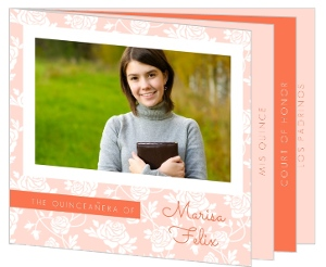 Floral Peach Quinceanera Invitation Booklet