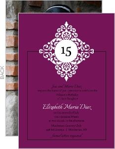 Purple And Black Floral Monogram Quinceanera Invitation