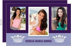 Purple And White Crown Photo Quinceanera Invitation