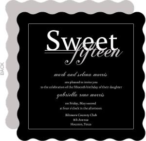 Black Modern Quinceanera Invitation