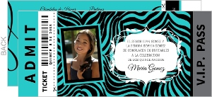 Turquoise Zebra Print Ticket Quinceanera Invitation