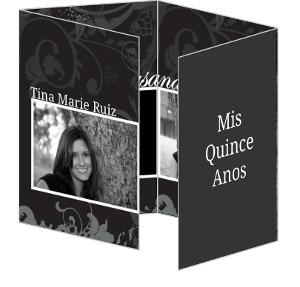 Grey Elegant Floral Quinceanera Invitation