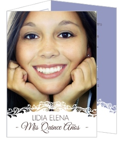 White Vintage Frame Quinceanera Invitation