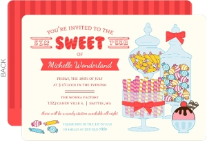 Cute Candy Station Sweet Sixteen Birthday Invitation
