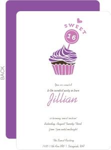 Cupcake Love Sweet Sixteen Birthday Invitation