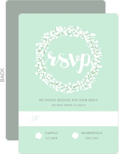 Whimsical Mint Babys Breath Wedding Response Card