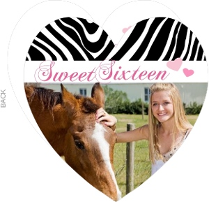 Zebra Stripe Heart Sweet Sixteen Invitation