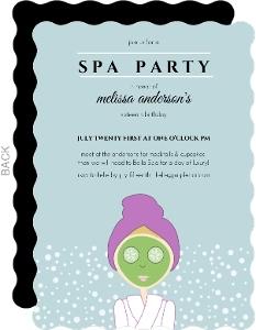 Aqua Spa Girl Birthday Party Invitation