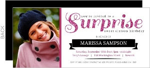 Purple Glitter Surprise Sweet 16Th Birthday Invitation