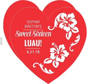 Red And White Floral Luau Sweet Sixteen Invitation