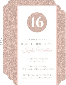 Rose Gold Faux Glitter Sweet Sixteen Invitation