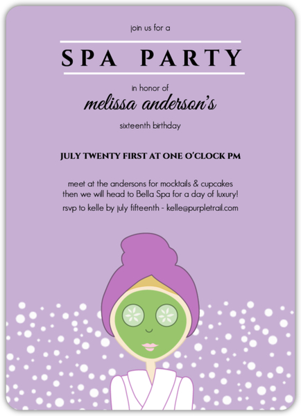 Purple Spa Girl Birthday Party Invitation – Girls Birthday Party Invites