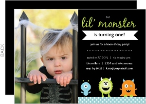 Little Monster Halloween Birthday Party Invitation - 2581