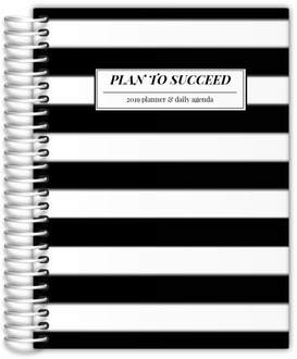 Beautiful Modern Black White Stripes Planner