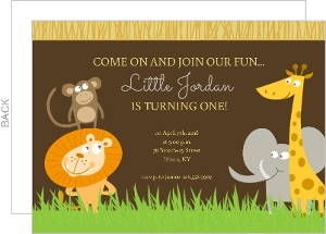 Safari Animals First Birthday Invite