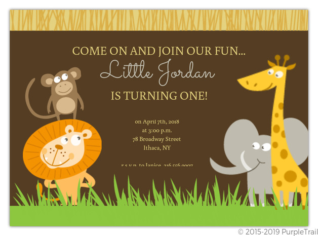 Safari Animals First Birthday Invite – Safari First Birthday Invitations