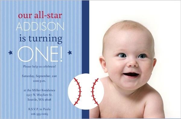 All Star Baby Baseball First Birthday Invitation | First Birthday ...