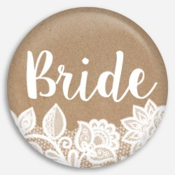 Kraft And White Lace Bride Button